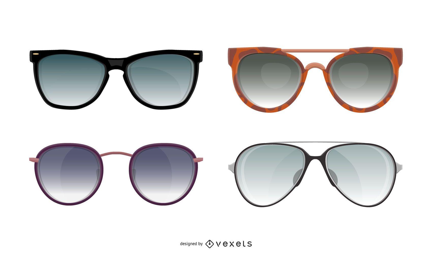 Summer sunglasses illustration set
