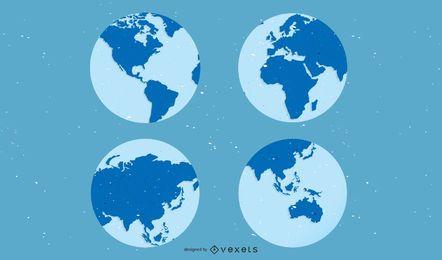 4 globos terráqueos con continentes.