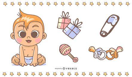 Cute Baby Theme Vector