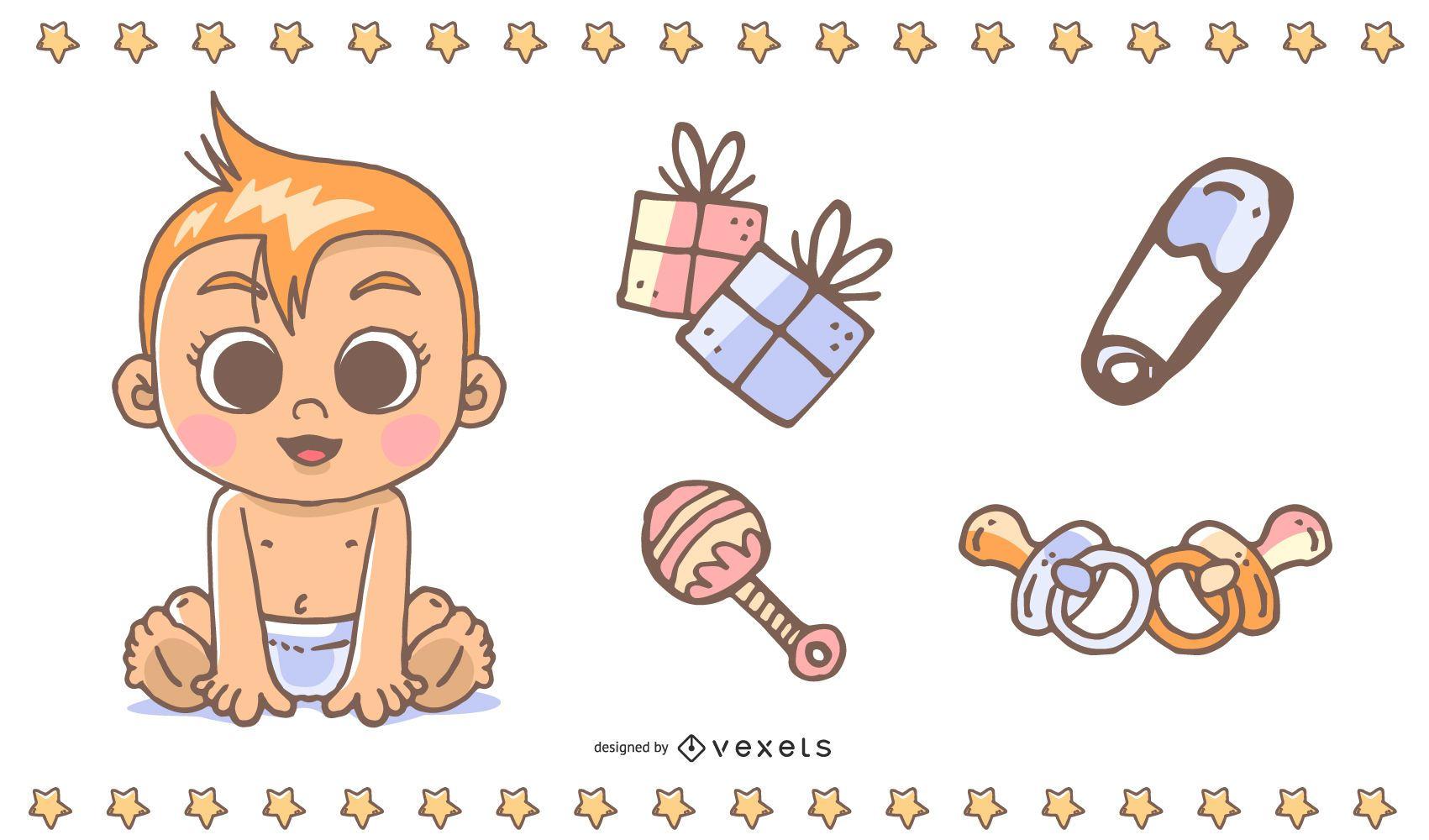 Vector lindo del tema del bebé