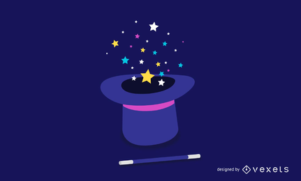 Vector mágico sombrero y varita