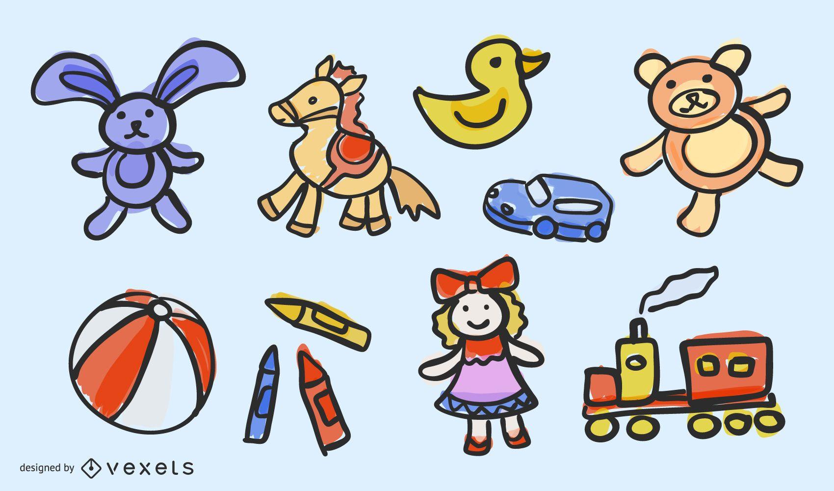 Juguete infantil clásico pintado a mano 03 Vector