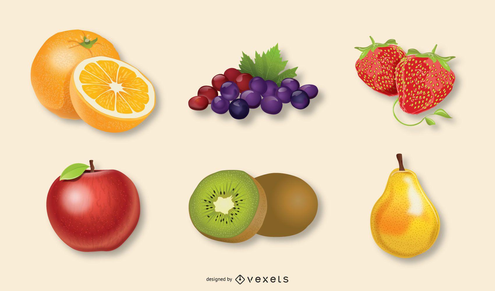 Realistic fruits illustration set