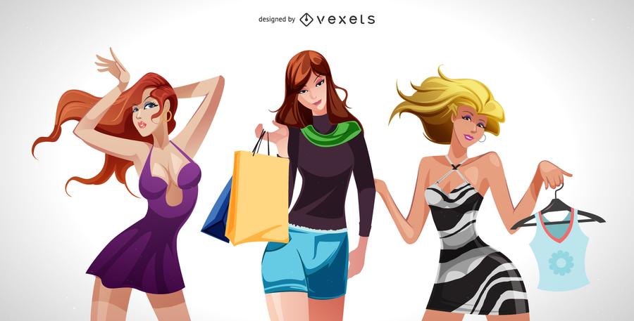 Weiblicher Mode-Illustrator-Vektor 03