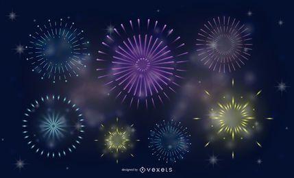 Fogos de artifício esplêndido fogos de artifício vetor 1