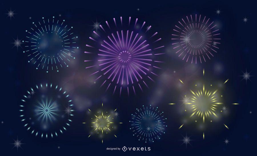 Splendid Fireworks Fireworks Vector 1