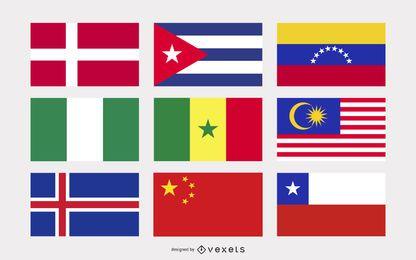 Nationaler oder regionaler Flagge und regionaler Flaggen-Vektor 4