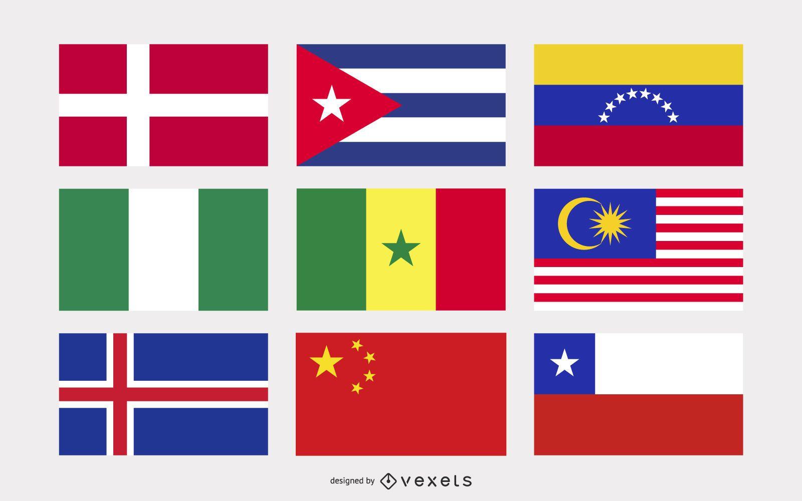 National flags illustration set