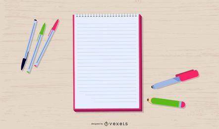 Diseño De Ilustración De Materiales De Escritura