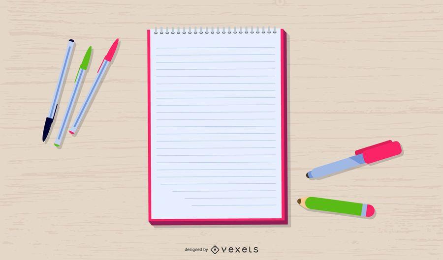 Writing Materials Illustration Design