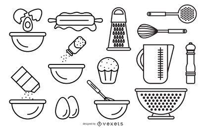 Dibujo lineal de vector de utensilios de cocina y alimentos