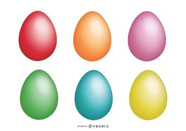 Colorful easter egg illustration set