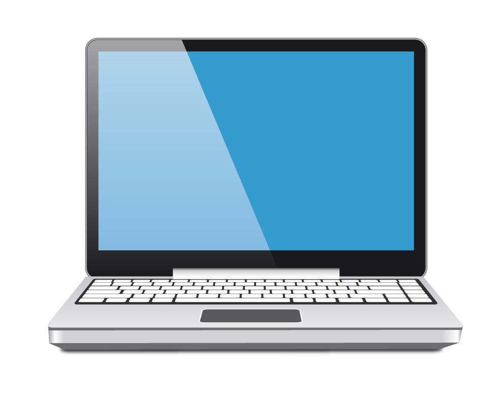 Pantalla azul del vector del ordenador portátil