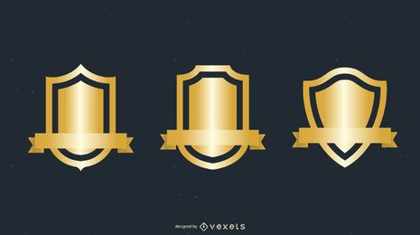 Vários Gold Shield Badge Vector
