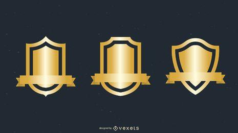 Varios vectores de insignia de escudo de oro