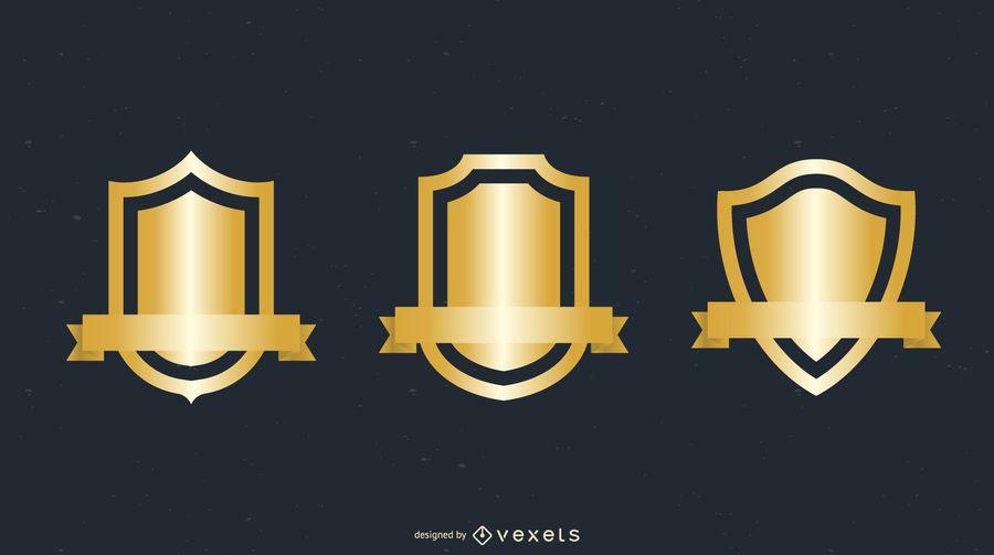 Vários Gold Shield Badge Vector