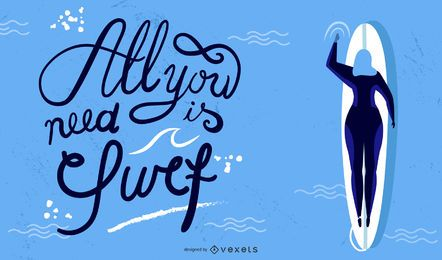 Surfing lettering illustration