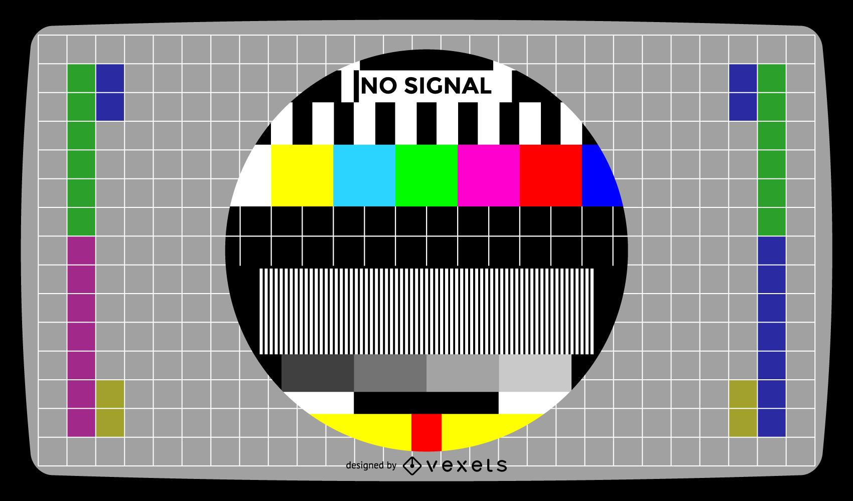 Pantalla de prueba de televisión sin señal ilustración vectorial