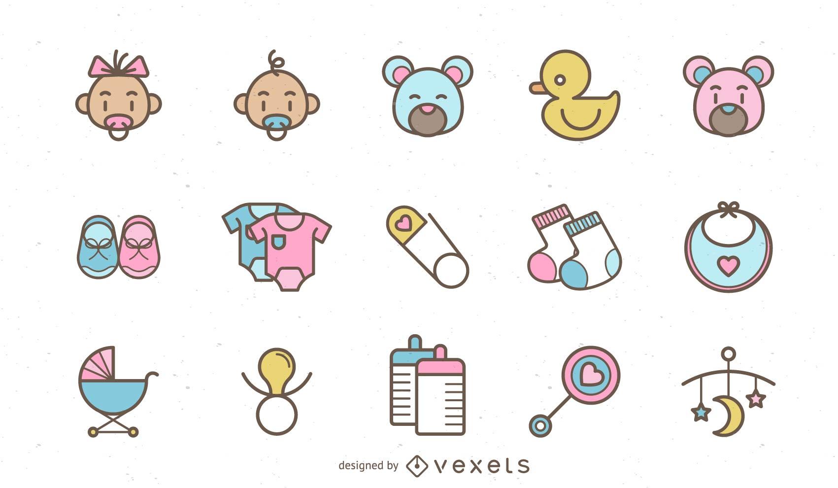Cute Baby Elements Vector Set