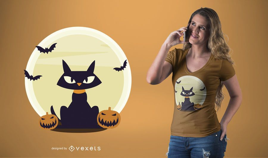 Diseño de camiseta de gato negro halloween.