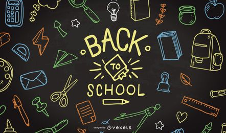 Back so school doodle illustration