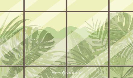 plants window illustration design