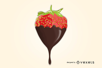Delicioso Chocolate Mergulhado Morango