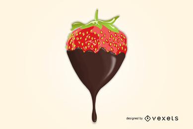 Köstliche Schokolade tauchte Erdbeere ein