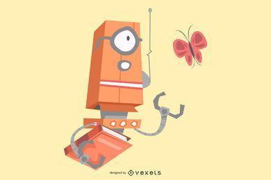 Robot with book illustration design