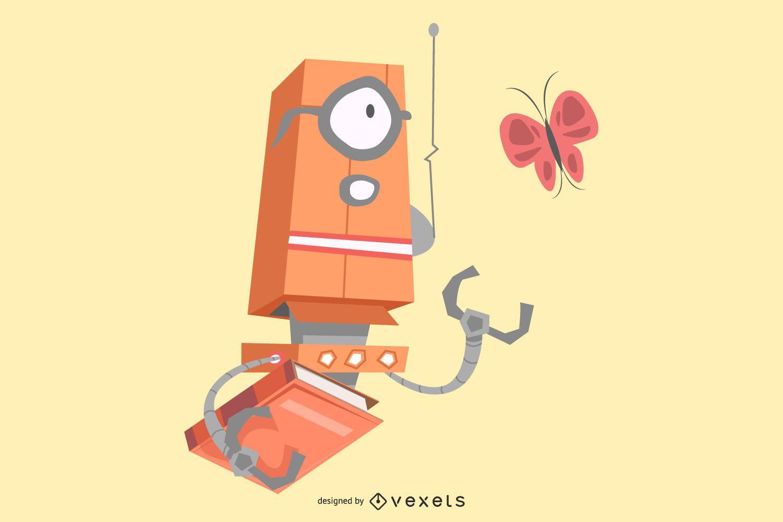 Robot con diseño de ilustración de libros