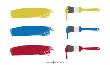 Different Colors Of Paint Brush 04 Vector