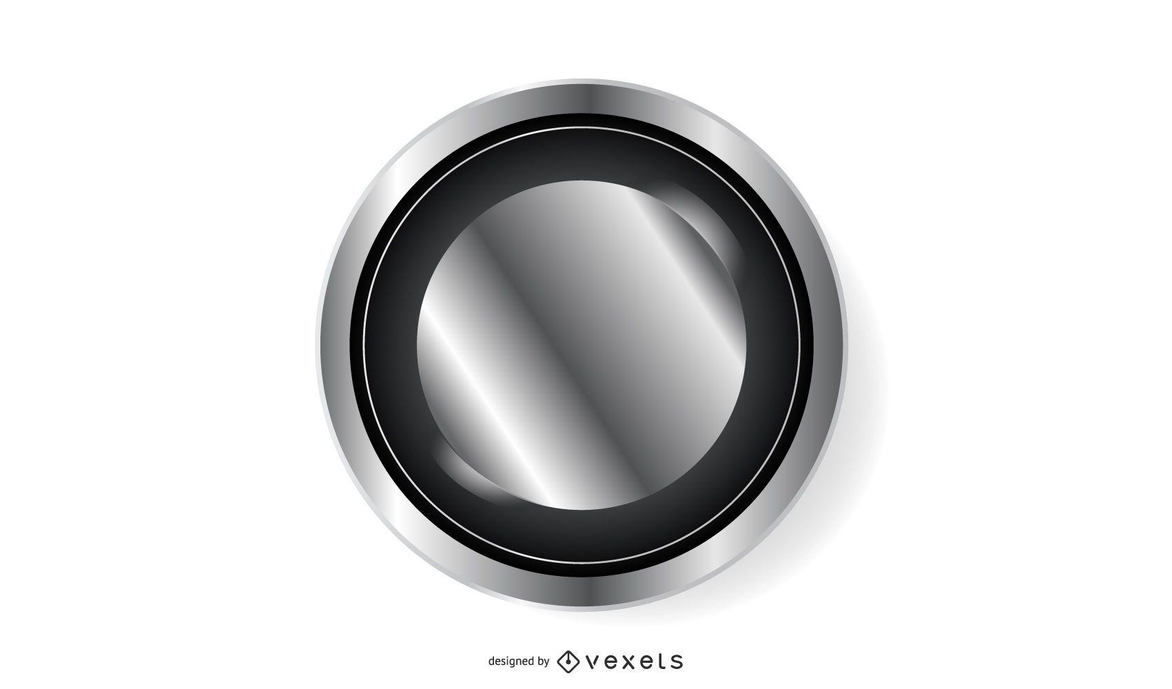 Botón circular negro platino brillante