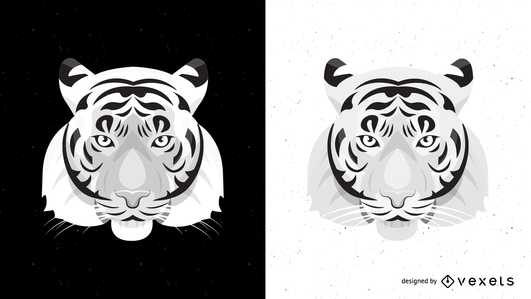 Both Black And White Tiger Vector