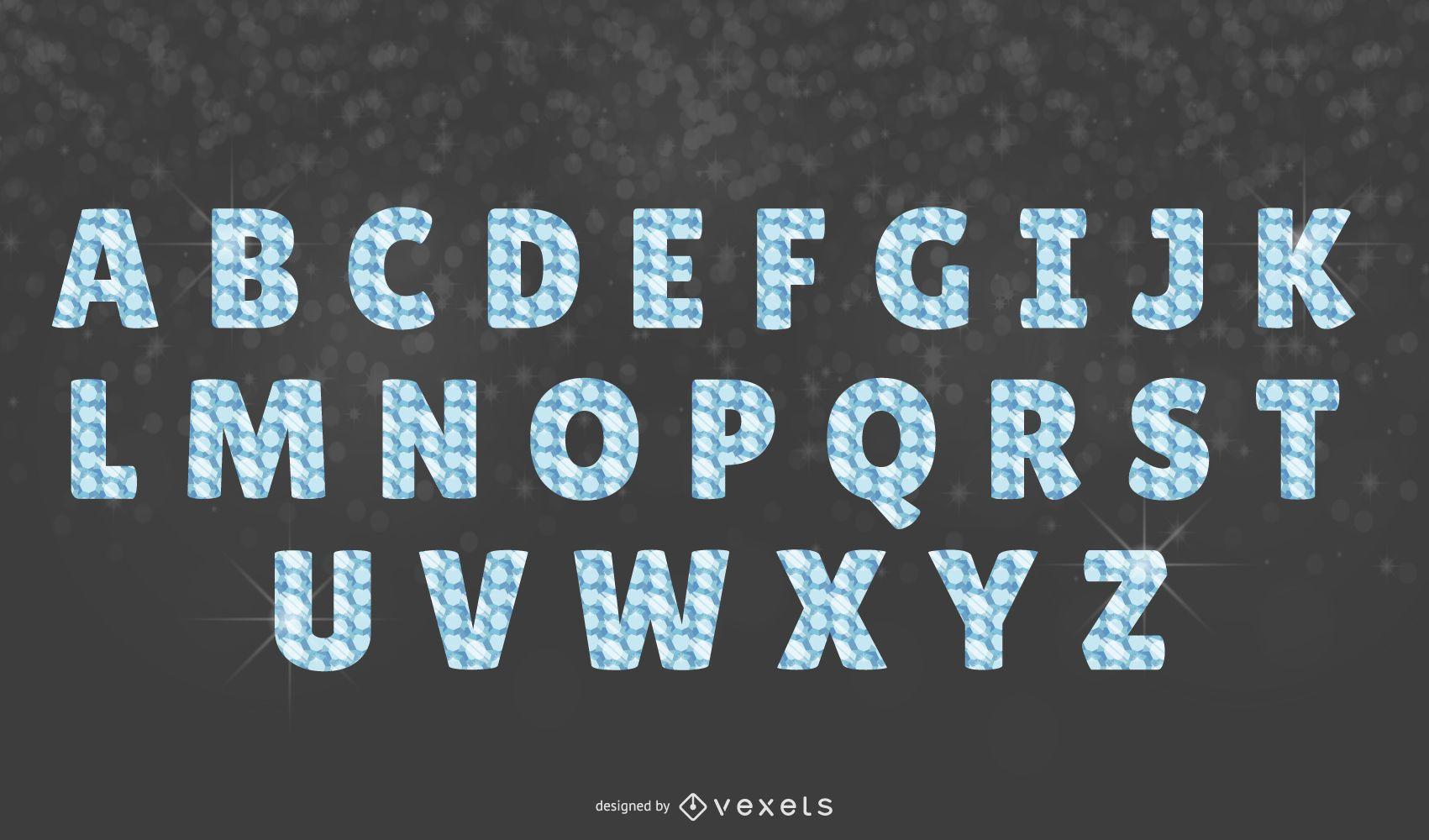 Conjunto de letras del alfabeto de diamantes