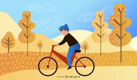 biker in the park illustration