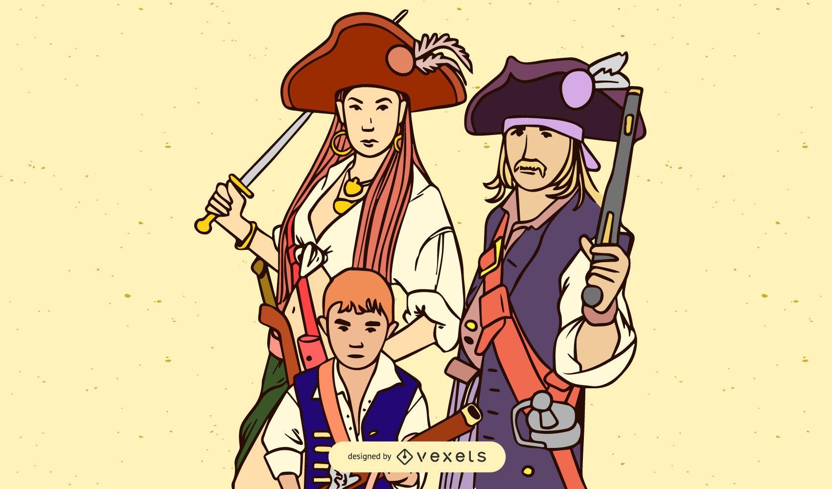 Vector Retrato Familia Piratas Sombrero Paja Una Pieza