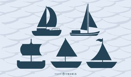 Sailing Boats Silhouette Set