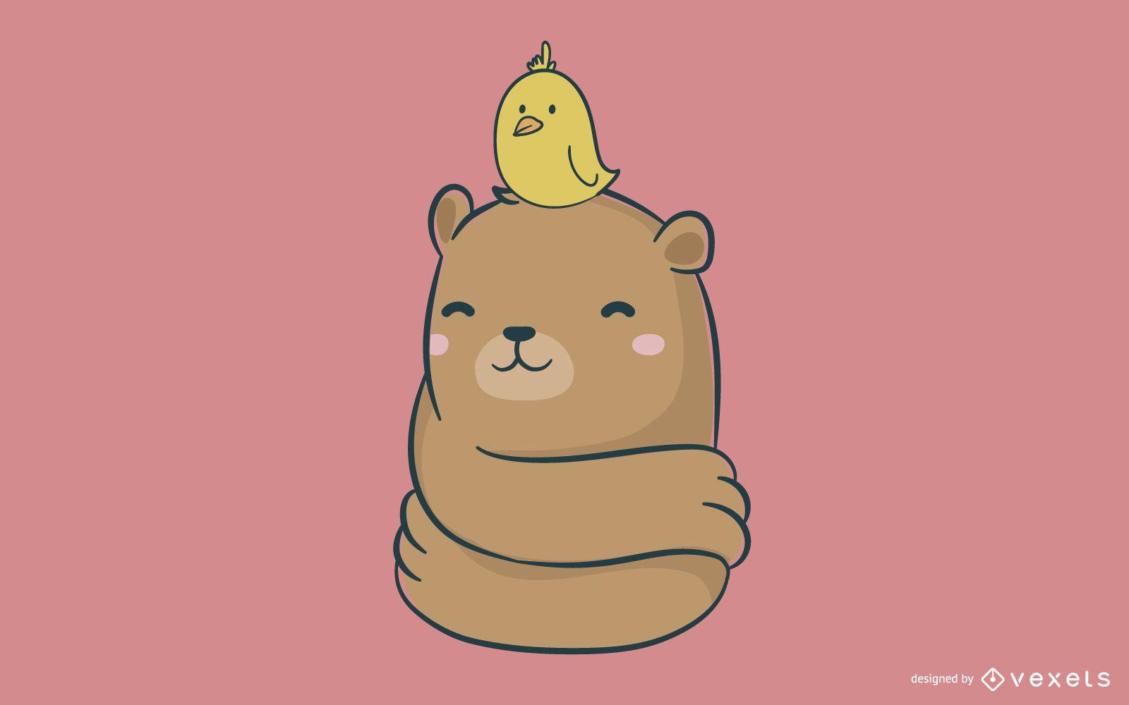 Linda ilustración de oso y pollito
