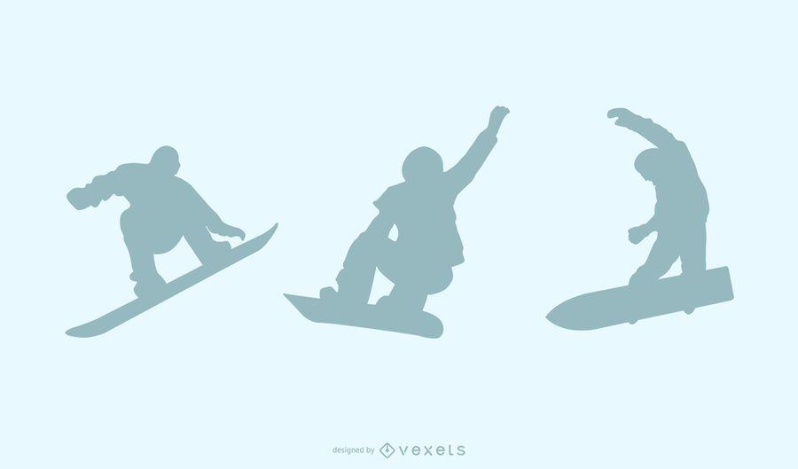Snowboard silhouette set