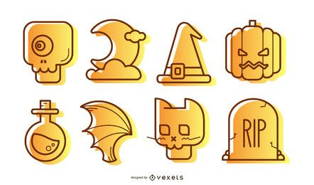Halloween icons illustrations