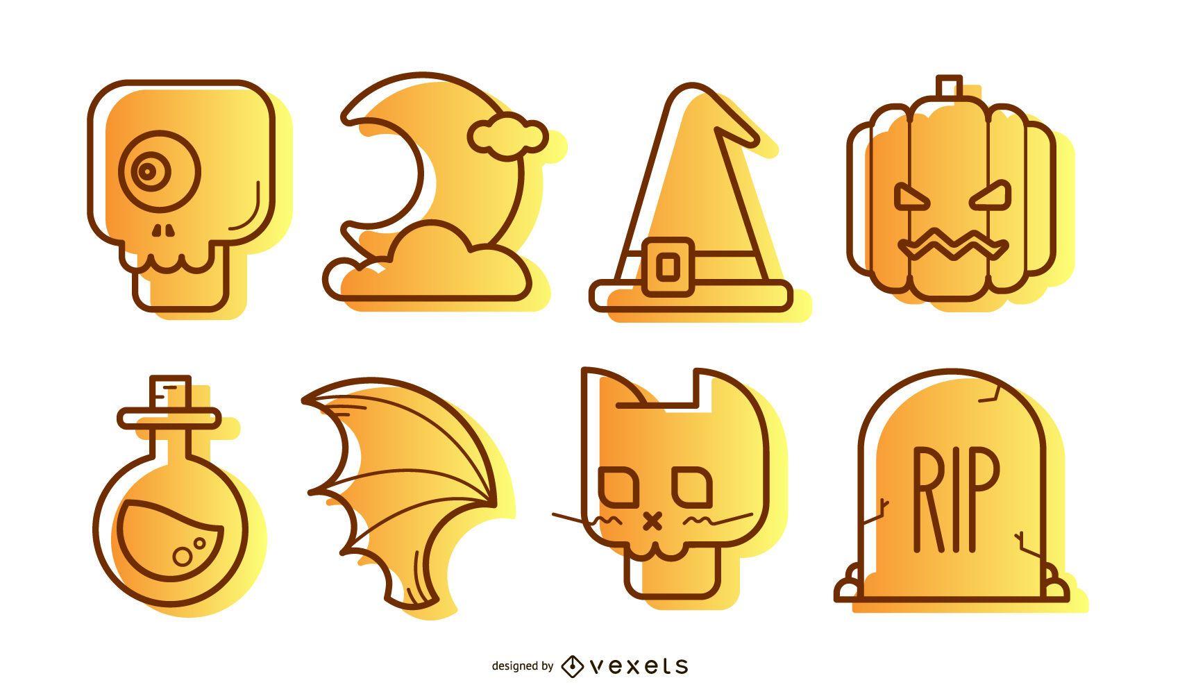 Ilustraciones de iconos halloween