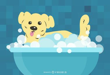 Banho pequeno do cão