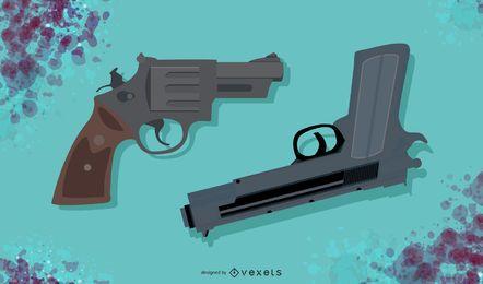 Conjunto de ilustración de pistola 3D