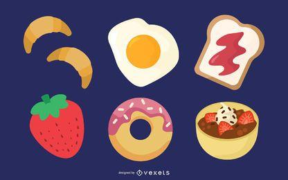 Vector desayuno comida comiendo