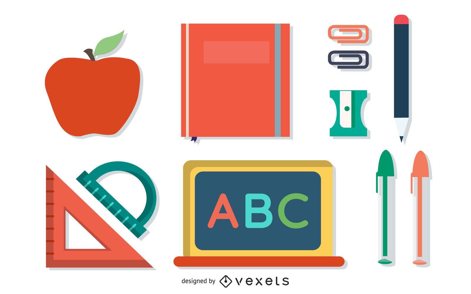School supplies flat illustration set