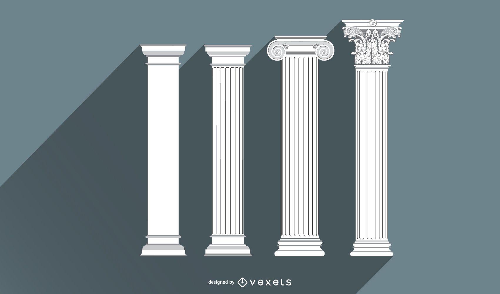 Conjunto de dise?o de pilar de arquitectura antigua