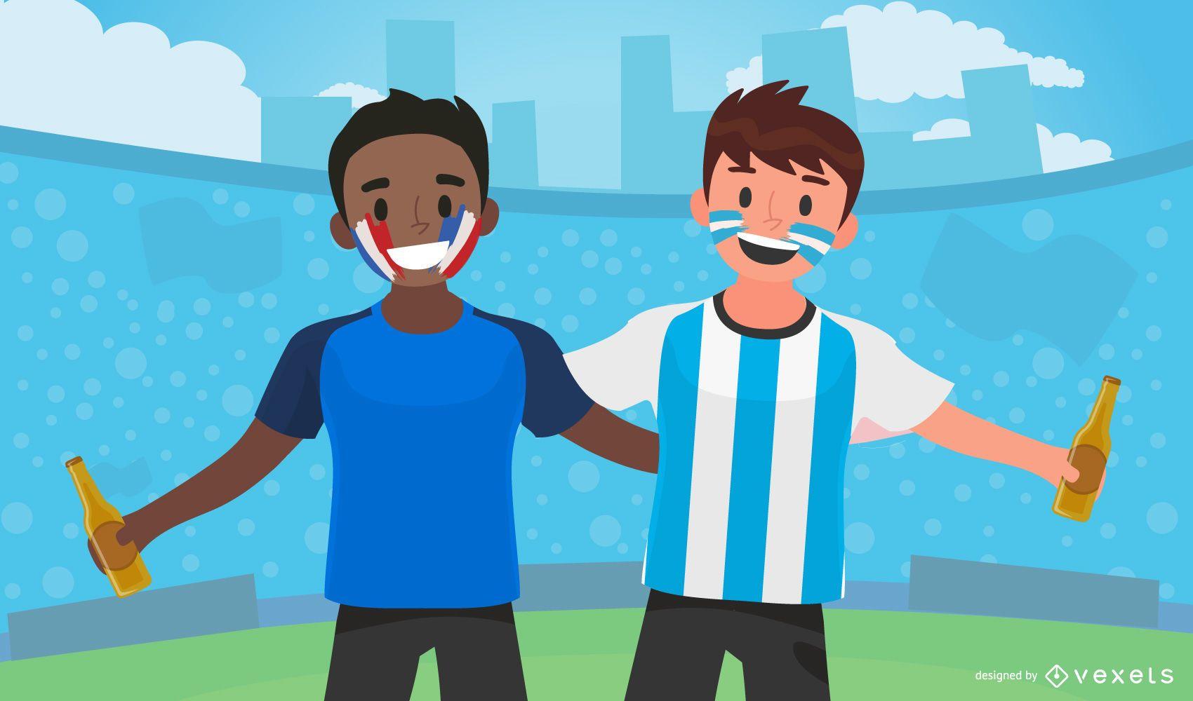 Diseño de ilustración de los fanáticos del deporte