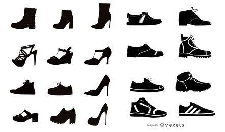 Colección de silueta de zapatos