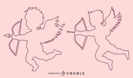 Desenho de linha vetor Cupido