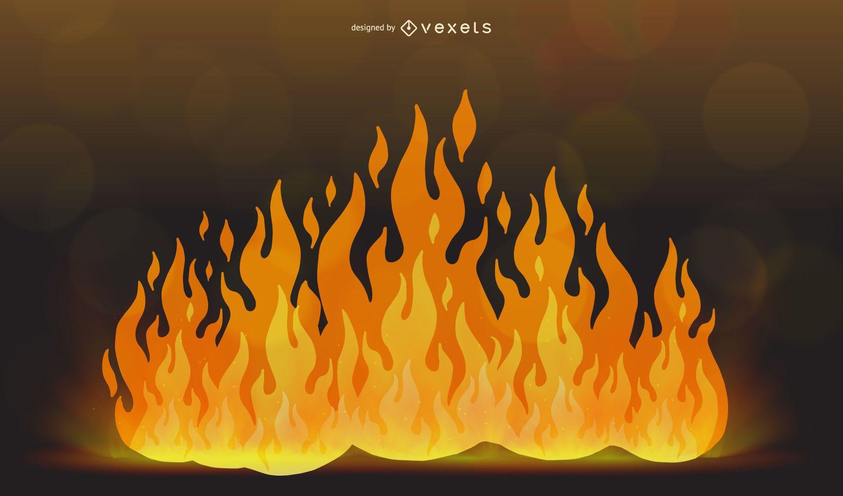 big flames illustration design